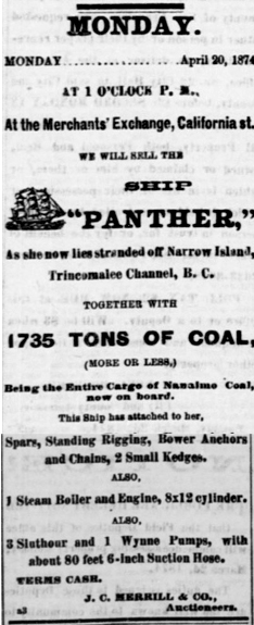 Panther Auction Advertisement April 20th, 1874