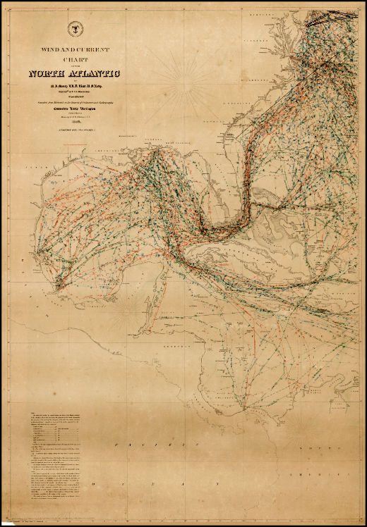 North Atlatic Chart (wind and Current) 1855