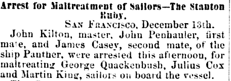 Arrested for Maltreatment of Sailors 1872