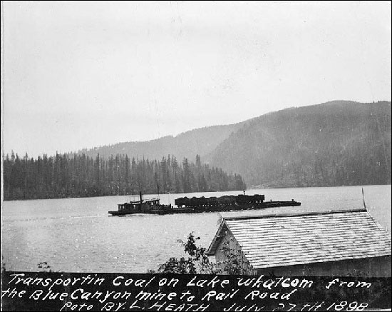 Coal Cars being towed across Lake Washington