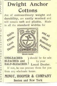 Dwight Anchor Cotton Minot, Hooper & Company 1894 Ad