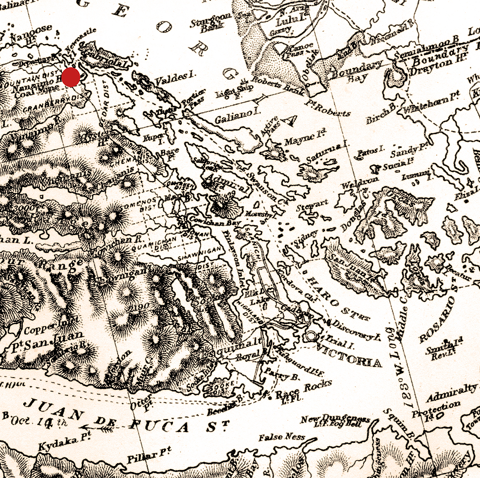 Early chart showing nanaimo ti Juan de Fuca