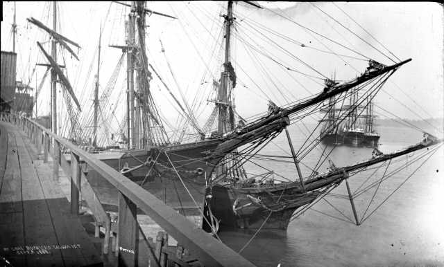 Ships loading coal in commencement bay circa 1881